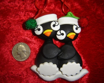Family of 2 - Moose or Snowman or Brown Bear or Puffin or Polar Bear couple PERSONALIZED Clay Christmas ORNAMENT - Moosellaneous By Rebecca