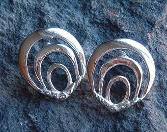 Earrings, Vintage Silver Tone Pierced Earrings