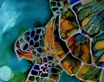 Magical Turtle 3  5x7 art print from Kauai Hawaii honu blue teal turquoise yellow green