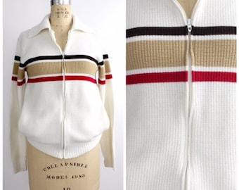SUMMER SALE    Vintage Striped Cardigan   Robert Bruce Colorblock Sweater   Zip Up Jumper   S - M
