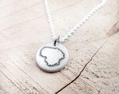 Tiny Lithuania necklace silver map jewelry, Lithuania jewelry, Lietuvos Respublika