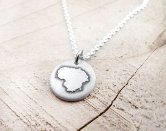 Tiny Lithuania necklace silver map jewelry, Lithuania jewelry, Lietuvos Respublika