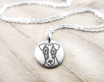 Tiny Fox Terrier necklace, silver dog necklace, Fox Terrier jewelry, remembrance necklace