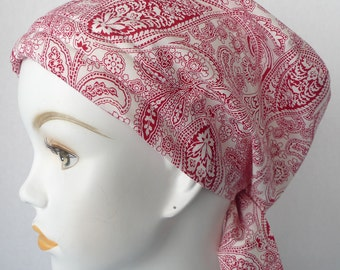 Red Paisley Chemo Cancer Hair Loss Scarf Turban Hat Bad Hair Day Headcover Hairwrap