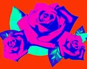 Roses Retro Art Print Boho Instant Digital Download Tattoo Modern Floral Home Decor Orange Pink Blue Green Mid Century Style Illustration