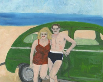 Connie and Rudy, vacation in Malibu. Original oil painting by Vivienne Strauss.
