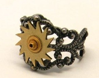 Steampunk jewelry . Steampunk gears adustable ring.