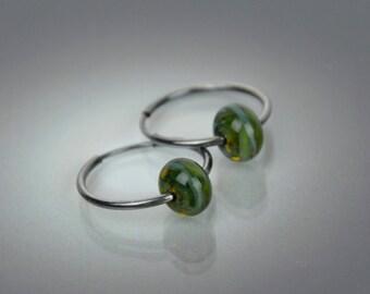 Glass Bead Hoop Earrings - CBandCO