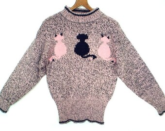 BLACK Cat PINK kitties vintage sweater // 80's retro novelty sweater // women's size S M