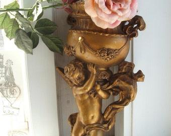 1975 Gilded Cherub Wall Pocket Vase Planter from Universal Statuary Corp