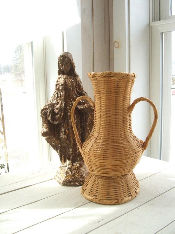 Vintage Wicker Basket Urn Shape Vase With Handles