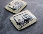 Glass Intaglio-Vintage Glass Cabochon-Steam Engine-Steampunk-Industrial-Locomotive-Railroad-Railway-Train Car-Rectangle-Reverse Painted-2