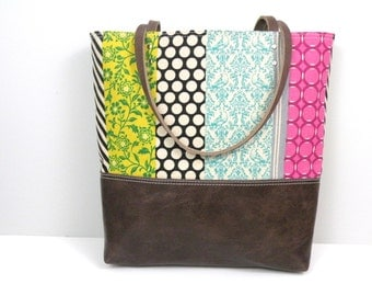 Canvas tote / Colorful Beach Tote / Leather Bottom Bag / Printed Tote with Leather Handles