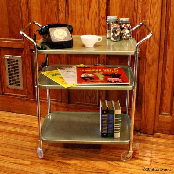 Vintage Metal Cart Cosco Kitchen Cart Serving Cart Bar