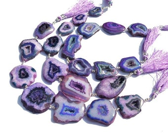 9 Inches Purple Druzy Agate Geode Slice beads 7 Pieces Purple Agate Slab Beads Size 22 - 36mm approx
