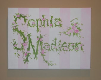 Personalized Name Canvas with Flowers