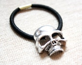 Glam Rock Silver Skull Hair Tie