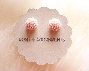 Taupe Bohemian Floral Stud Earrings
