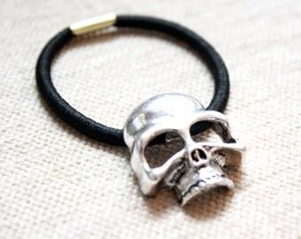 Glam Rock Silver Skull Hair Tie