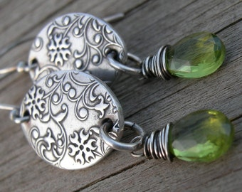 Peridot Fine Silver Link Earrings