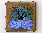 Base of Change 05 original mixed media tree lotus art by tremundo