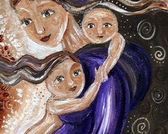 Be Near, mother babywearing two children, signed motherhood print from an original painting by Katie m. Berggren