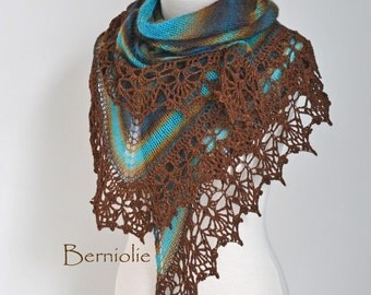Knitted shawl with crochet lace trim, Brown, Aqua, N276