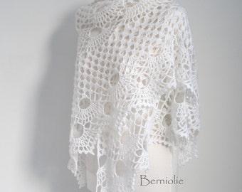 Crochet shawl, Lace, White, N284