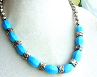 Turquoise Necklace, Blue Necklace, Statement Necklace, Gemstone Necklace, Blue Stone Necklace