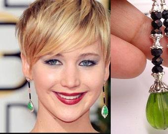 Green Dangle Earrings, Earrings Of Jennifer Lawrence,Celebrity Inspired Jewelry - Silver Version