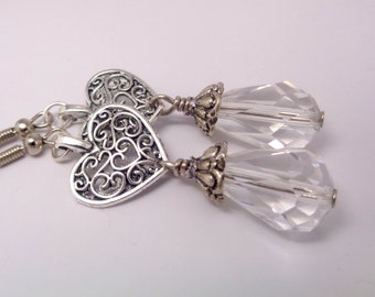 Crystal Earrings,Heart Earrings, Bridesmaid Earrings, Wedding Jewelry