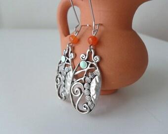 Deco silver mint orange earrings