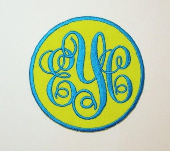 Script Monogram Embroidered Applique DIY Patch-100248