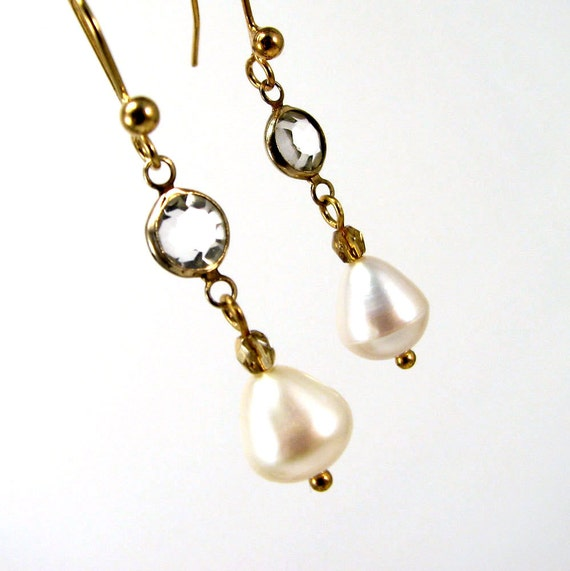 Pearl Drop Earrings With Vintage Crystals Gold Finish