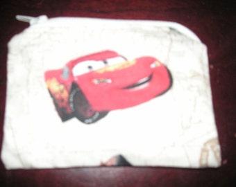 Disney Cars Lighting McQueen handmade zipper fabric coin change purse