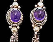 Nepali Vintage Sterling & Amethyst Earrings