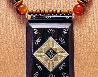 Handsome Tuareg Ebony Pendant w/Silver Inlays
