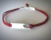Valentines Bracelet Heart bracelet Sterling Heart Red Bracelet Love Anniversary bracelet Bridesmaid Bracelets