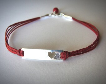 Heart bracelet Sterling Heart Red Bracelet Love Anniversary bracelet Bridesmaid Bracelets Ready to ship graduation gift for her valentines