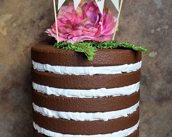 """Wedding cake topper...""""meant to be"""" banner for your rustic woodland look wedding cake"""