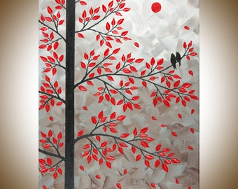 "Red black white wall art birds art wall decor Impasto Wall Hangings painting on canvas ""Dawn of Love"" by  qiqigallery"