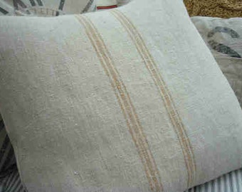 "Vintage Grainsack 20"" Pillow Down & Feather  Caramel Stripes Cottage Ticking Shabby Chic"