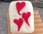Red Hearts Felted Peppermint Essential Oil Scented Cold Process Soap