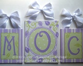 Custom Personalized sage green lavender purple white canvas letter name sign wall art painting monogram initial set leaf leaf dots stripes