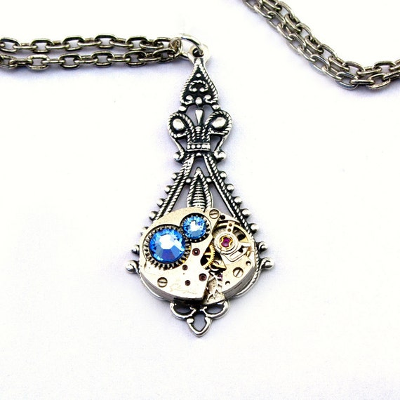 Sapphire Blue Steampunk Necklace September Birthstone Teardrop Art Nouveau Watch Movement Pendant Silver Plated London Particulars