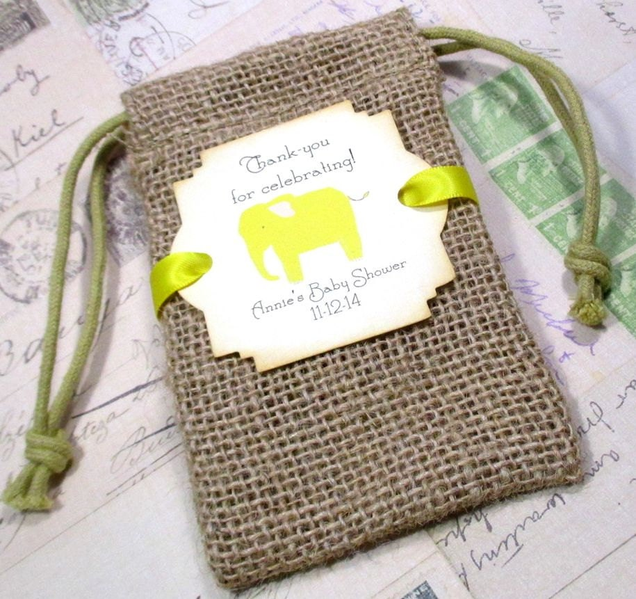 burlap baby shower favor bags personalized elephant