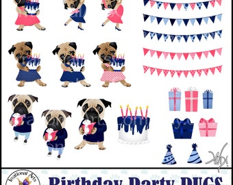 Birthday Party Pug Dog Graphics Navy and Coral with png digital graphics with pugs presents gifts cake banners party hats