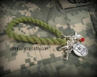 BRACELET: US Army boot band blouser charm bracelet SSG149 military Soldier marines navy Air force national guard usmc usaf usn sailor