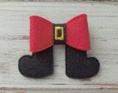 Santa Feet Felt Hairbow Applique, Santa Embroidered Applique, Christmas Applique,  Headband Slider, Slider for Headband