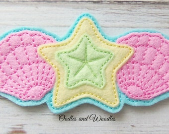 Seashell And Starfish Headband Slider Appliques, Seashell Appliques, Felt Embroidered Seashell Appliques, Beach Appliques, Starfish Feltie